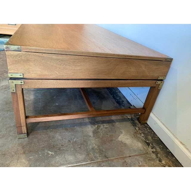 Late 20th Century Campaign Style Wood Coffee Table W/Drawers For Sale - Image 5 of 10