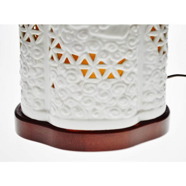 Seyei Blanc De Chine Reticulated Porcelain Lamp - Image 8 of 11