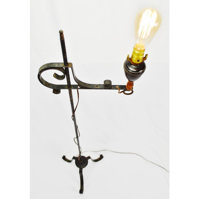 Metal Vintage Arts & Crafts Mission Style Wrought Iron Adjustable Height Floor Lamp For Sale - Image 7 of 13