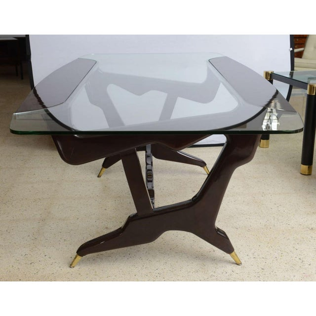Ico Parisi Rare Italian Modern Dark Walnut and Brass Writing/Centre Table, Gian Casè For Sale - Image 4 of 8