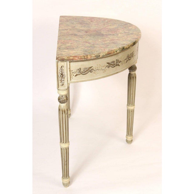 Traditional Louis Philippe Painted Demilune Console Table For Sale - Image 3 of 10