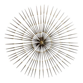 Ron Schmidt Mid-Century Gilded Metal Sunburst Wall Sculpture For Sale