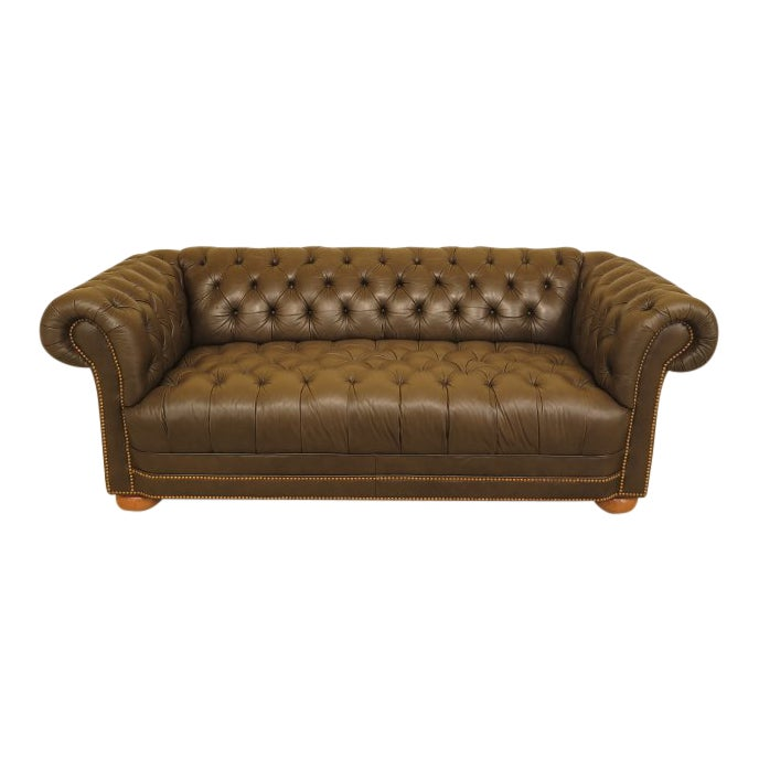 Green Tufted Leather Chesterfield Sofa