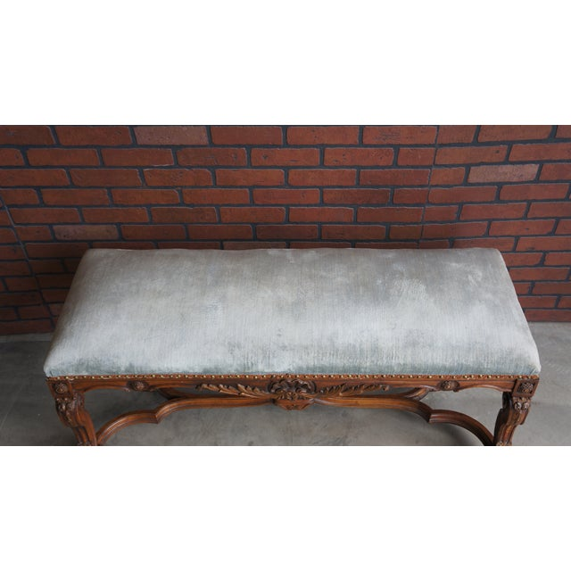 Fabric Antique French Provincial Bench For Sale - Image 7 of 9