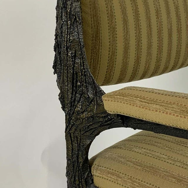 Mid-Century Modern Paul Evans Midcentury Brutalist Sculpted Bronze Patinated Pe105 Chairs - a Pair For Sale - Image 3 of 13