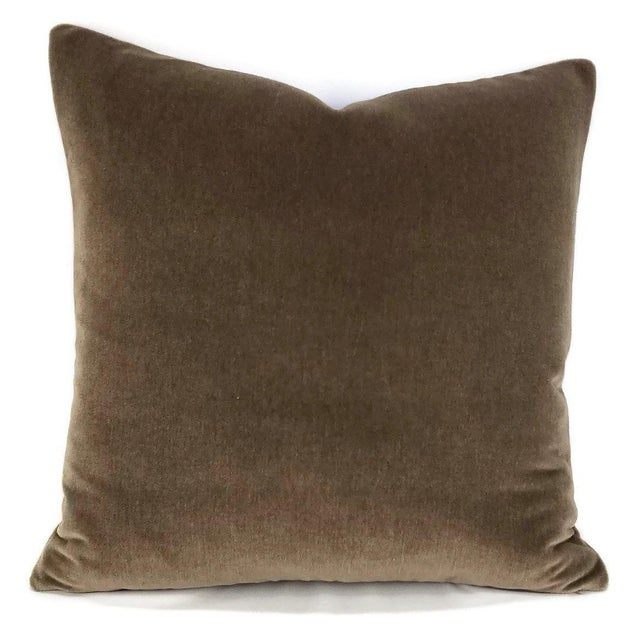 "Textile Dark Wood Brown Mohair Velvet Pillow Cover - 20"" X 20"" For Sale - Image 7 of 7"