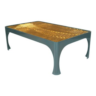 Contemporary Blue Lacquer Coffee Table With 1970s Gilt Resin Top For Sale