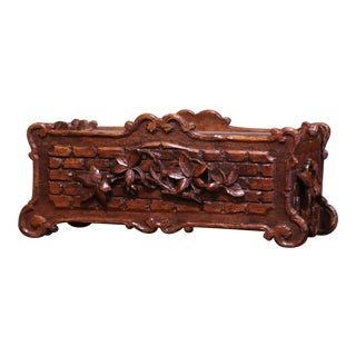 19th Century French Black Forest Carved Walnut Jardiniere With Floral Motif For Sale