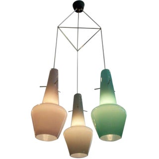 Mid-century Three Glass Pendant Chandelier, Italy, 1960s For Sale