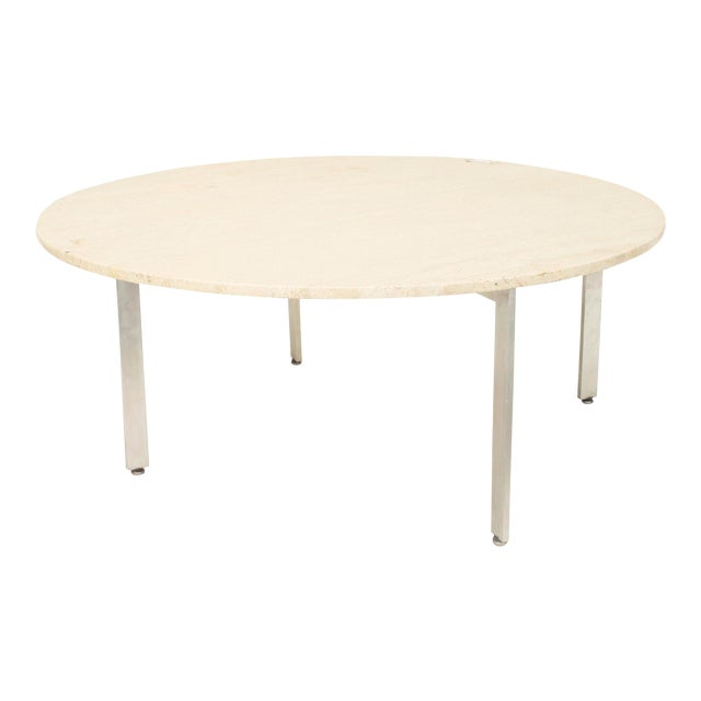 American Midcentury Round Coffee Table With Travertine Top For Sale
