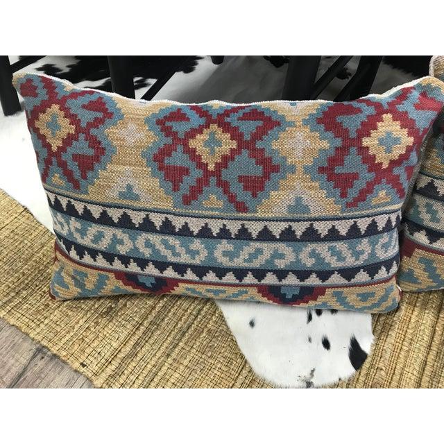 Boho Chic Boho Chic Lee Jofa Kilim Pillows - a Pair For Sale - Image 3 of 5