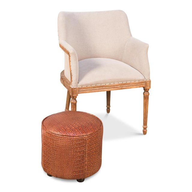 Contemporary Sarreid Round Footrest, Embossed Croc Tan Leather For Sale - Image 3 of 4