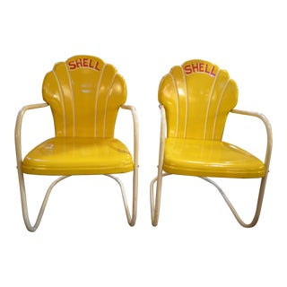 Vintage Pair of Original Yellow Calumet Shell Chairs For Sale