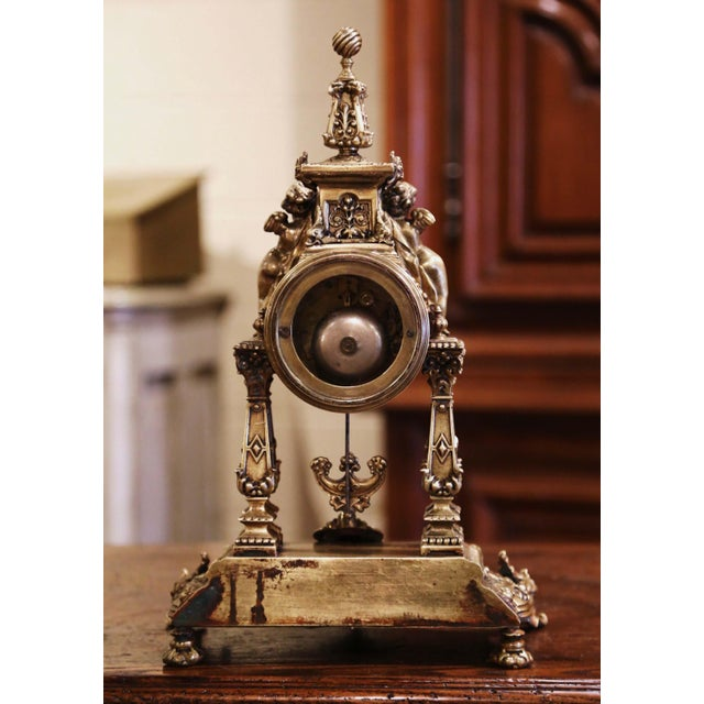 19th Century French Louis XV Rococo Gilt Bronze Mantel Clock With Cherubs For Sale - Image 10 of 13