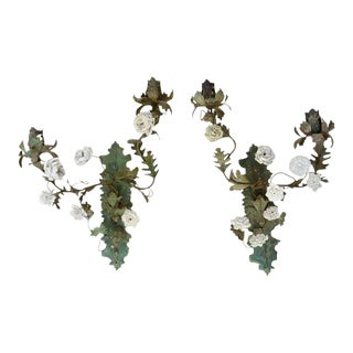 Pair of Italian Tole and Porcelain Two-Light Wall Appliqués, 19th Century For Sale