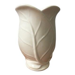 1950s Vintage White Ceramic Leaf Vase For Sale