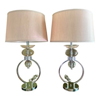 1980s Contemporary Chrome Open Circle & Lucite Table Lamps With Original Silk Shades - a Pair For Sale