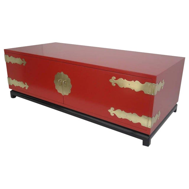 1960s Asian Red Lacquered and Brass Coffee Table/Storage Chest For Sale