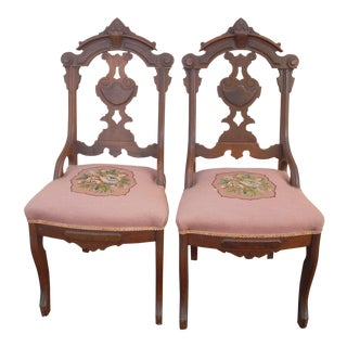19th Century Victorian Eastlake Side Chairs - a Pair