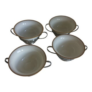 Early 20th Century Gorham Sterling and Lenox Cream Soups Bowls - Set of 4 For Sale