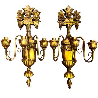 Antique Carved Gilt Italian Wall Sconces - Pair For Sale