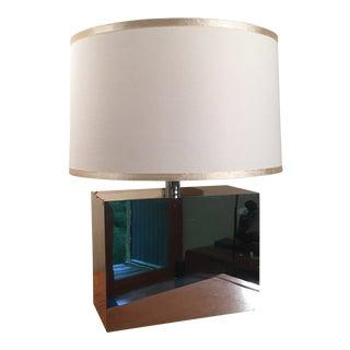 1970s Mid-Century Modern Kovacs Mirrored Chrome Rectangular Table Lamp