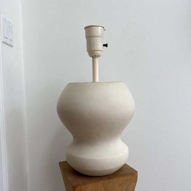 1980s Matte White Plaster Table Lamp by Michael Taylor For Sale - Image 12 of 13