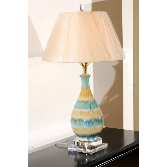 Abstract Chic Pair of Large-Scale Drip Glaze Ceramic Lamps in Caramel and Sultanabad Blue For Sale - Image 3 of 11