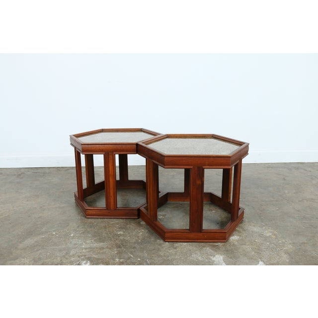 Brown Saltman Hexagonal End Tables - A Pair - Image 2 of 10