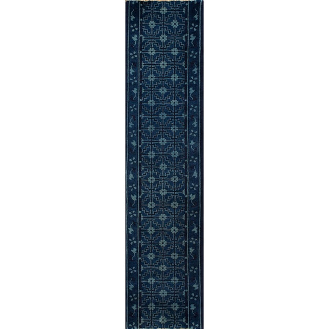 "Apadana - Antique Blue Chinese Peking Runner Rug, 2'5"" x 10' For Sale - Image 5 of 5"