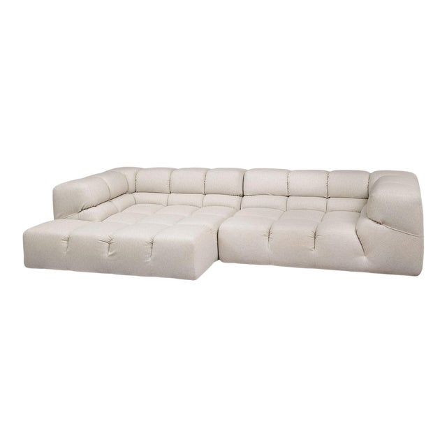 B&b Italia Heathered Ivory Wool Blend Upholstered Tufty-Time Sectional For Sale