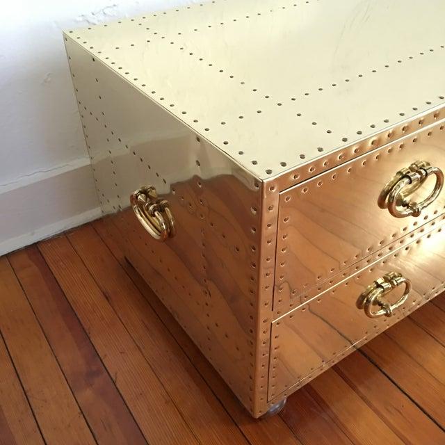 Sarreid Ltd. Sarreid LTD Brass 2 Drawer Trunk or Coffee Table For Sale - Image 4 of 11