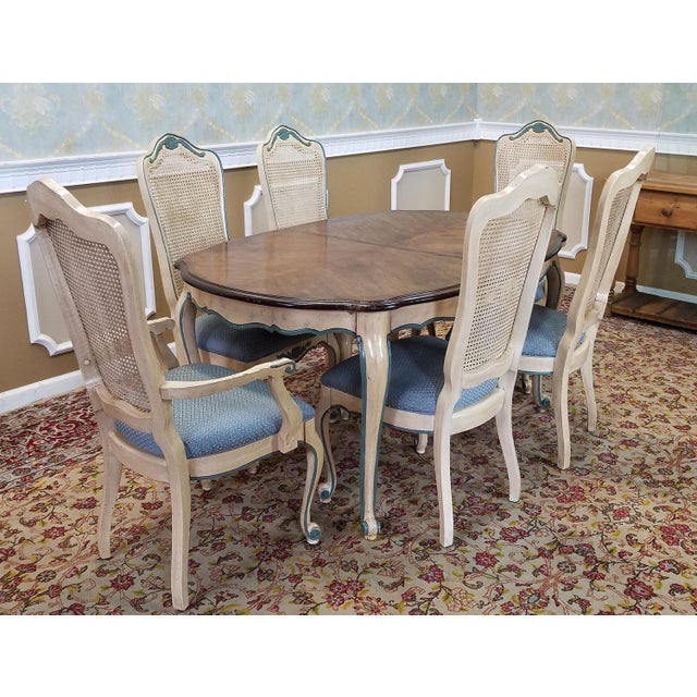 French Dining Room Set: 1960s French Provincial Dining Table W/ 6 Chairs