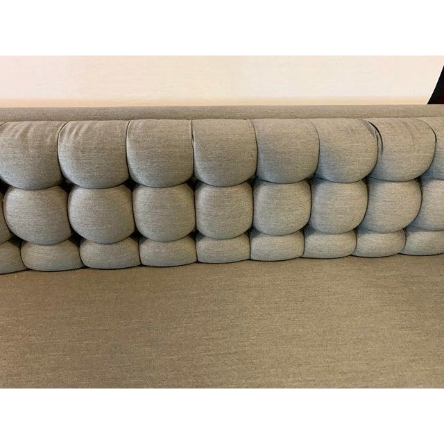 Chrome 1970s Vintage Milo Baughman Chrome and Tufted Gray Sofa For Sale - Image 7 of 13