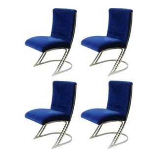 Pierre Cardin Chrome Dining Chairs in Blue Velvet - Set of 4 For Sale