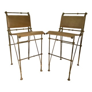Rustic Iron & Leather Ilana Goor Bar Stools - a Pair For Sale