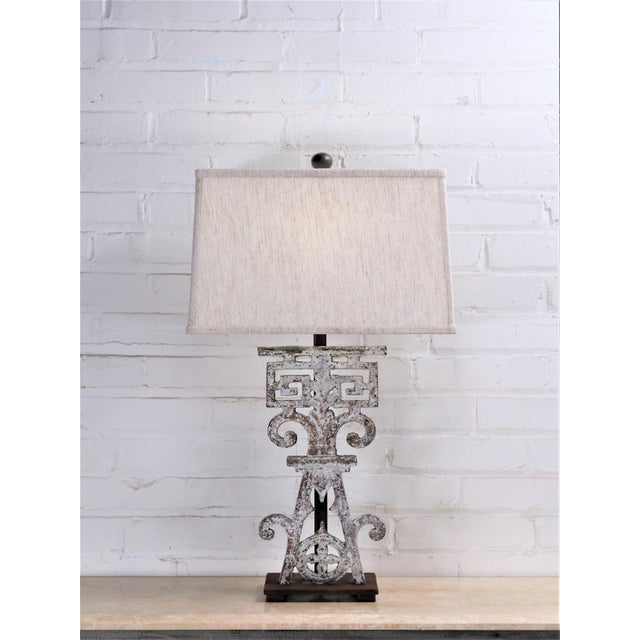 Early 20th Century Table Lamp Made From 20th Century British Colonial Iron With Shade For Sale - Image 5 of 5