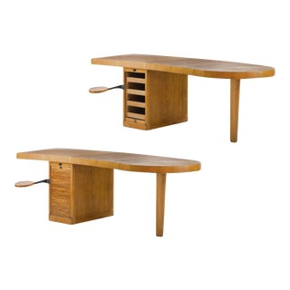 Exceptional French Modernist Boomerang Shaped Architect Desk. For Sale