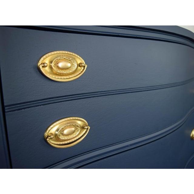 Bassett Serpentine Flat Navy-Blue and Gold Highboy Dresser - Image 9 of 11