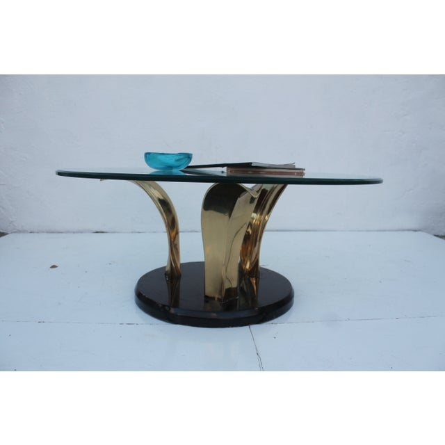 Lacquer & Brass Palm Leaf Coffee Table For Sale - Image 10 of 10
