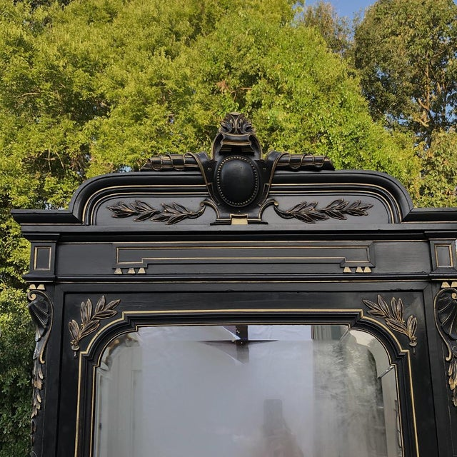 Mid 19th Century 19th Century French Napoleon III Ebonized Armoire For Sale - Image 5 of 13