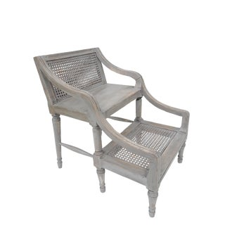 1900s French Louis XVI Dove Gray Caned Library Steps