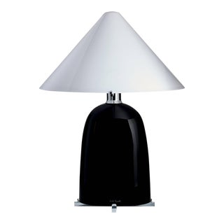 Ovale Carlo Moretti Contemporary Mouth Blown Black Murano Glass Table Lamp For Sale