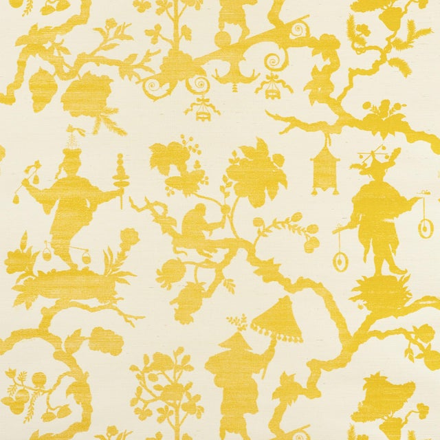 Contemporary Sample - Schumacher Shantung Silhouette Sisal Wallpaper in Yellow For Sale - Image 3 of 3