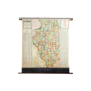 Vintage Cram's Pull Down Map of Illinois For Sale