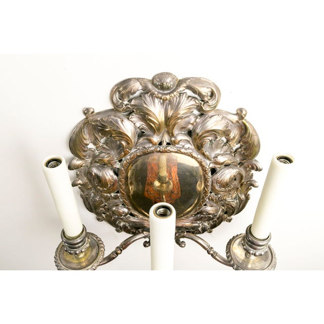 Copper Spanish Silver Shield Triple Candelabra Sconces, Pair (3 Pairs Available) For Sale - Image 7 of 13