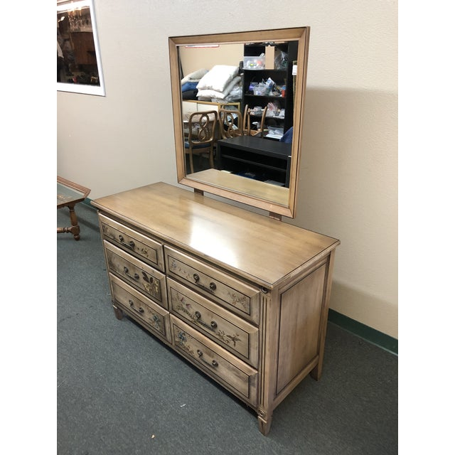 1950s Vintage Handpainted Dresser + Mirror, From Herald Furniture For Sale - Image 5 of 13