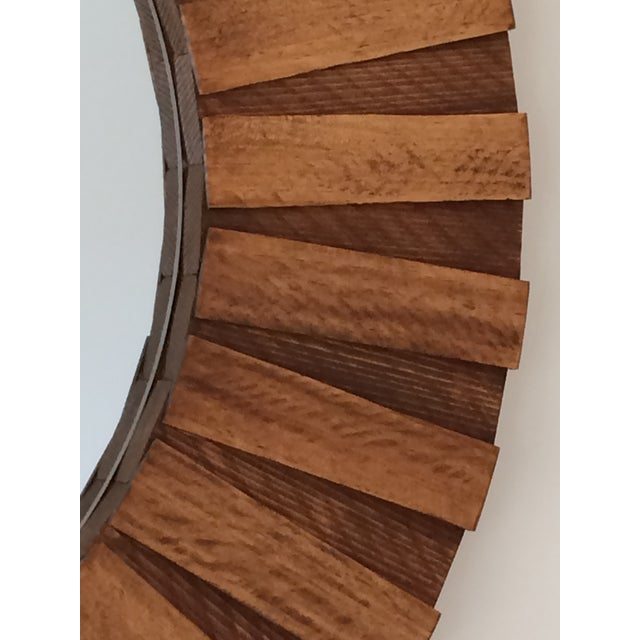"""Round Wall Mirror Teak Color 26"""" For Sale - Image 9 of 11"""