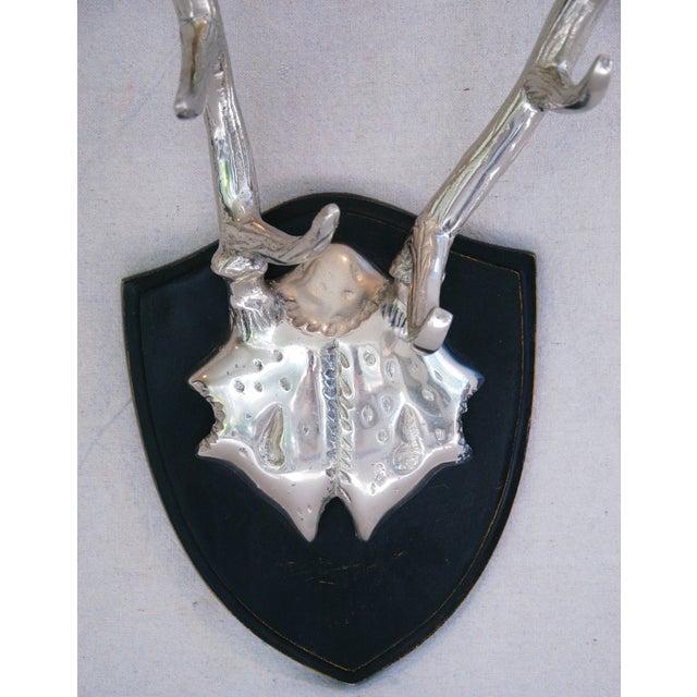 Faux Mounted Stainless Steel Deer Trophy Antlers - Image 4 of 7