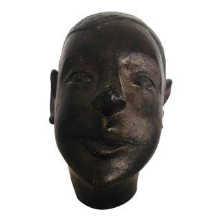 Figurative Ceramic Head of Boy Sculpture
